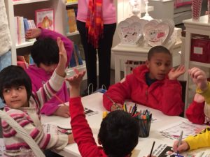 Kids coloring cards at Pottery Barn Kids.
